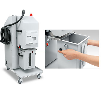 Integrated dust collecting container in the control stand