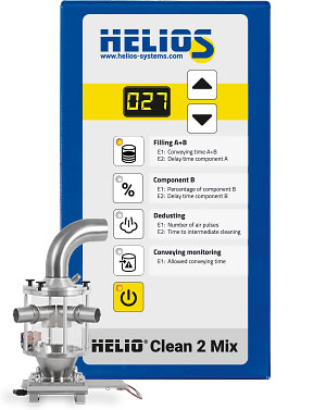HELIO®Clean 2 deduster as 2 component version for plastic regrind and virgin material