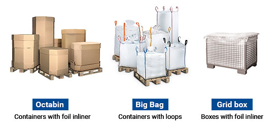 Common types of bulk bags which can be emptied with the Oktomat® discharging station