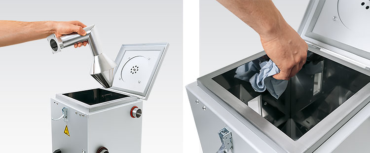 JETBOXX® drying containers can be easily opened from above for cleaning