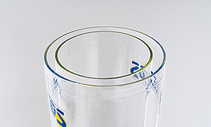 Drying container made of double-walled special glass